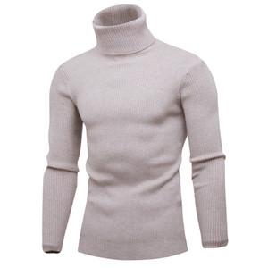 Moda- clássico Mens Camisolas Casual com 7 cores com nervuras pescoço de tartaruga capuz manga comprida camisola sólida para Outono e Inverno M-3XL