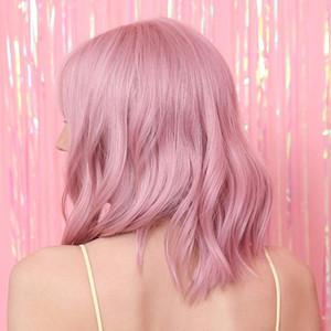 Sintética peluca rosada con aire Bangs corto cabello hasta los hombros en colores pastel de Bob peluca sintética para la niña colorido del traje de las pelucas