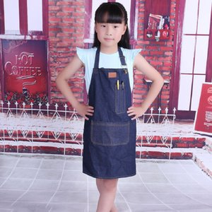New cotton denim kids apron for kitchen aprons Student painting aprons Sleeveless bib kinder schort Accessories Cape for Haircut