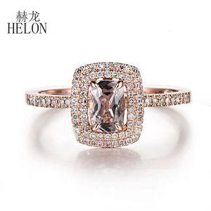 Helon Solid 10K Rose Gold Безупречная Подушка 0.7ct Природные Morganite Halo бриллиантовое обручальное обручальное кольцо Женщины изящных ювелирных изделий кольца