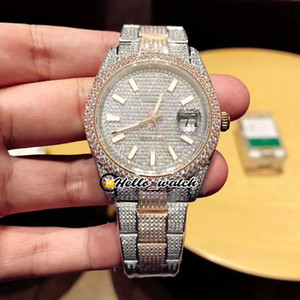 New Gypsophila Diamond Dial Seagull 2824 Mens Automatic Assista 126333 116244 furar marcadores Two Tone 904L Aço bracelete de diamantes Hello_watch