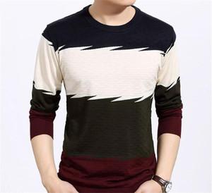 Сыпучие Мужчины Одежда панелями Mens конструктора O шеи Свитера Мода Пуловер контрастного цвета с длинным рукавом мужские свитера