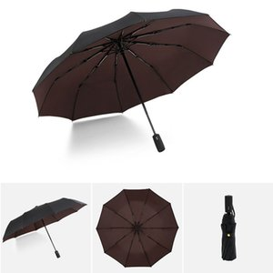 Reinforced Umbrella Three Folding Male Female Parasol Full Automatic Rain Women Windproof Business Mens Gifts