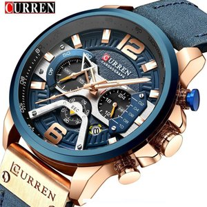 CURREN Casual Sport Watches for Men Blue Top Brand Luxury 8329 Leather Wrist Watch Man Clock Fashion Chronograph Wristwatch SH190929