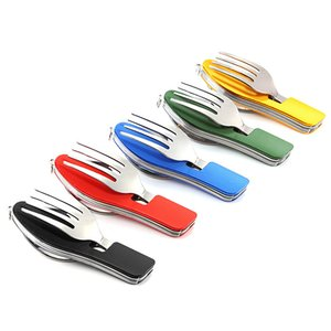 4 in 1 Multifunctional Camping Utensils Set Camping Spork Travel Tableware Folding Spoon Fork Knife Set Hiking Picnic Cookware