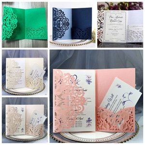 Kartlar İçin Nişan doğum günü partisi Düğün Tebrik Zarif Düğün Davetiye Tam Set Lazer Kesim Hollow Cep DBC BH3683 Malzemeleri