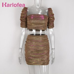 Karlofea New Sparkle Crop Top Shirts Ruched Mini Skirt Women Sets Lovely Two Piece Matching Suit Outfits Elegant Club Party Wear