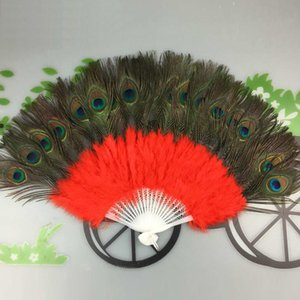 Pavo real Feather Hand Fans Stage Performance Dancing Folding Fan Party Supply Decor Regalo de boda Favor W9325