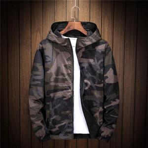Nouveau Printemps Automne mince coupe-vent Veste réversible Mens camouflage rue couple de manteau de veste jeune homme bombardier à capuchon Outwear