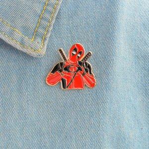 Deadpool New Super Hero Film Gold Und Rot Farbe Broschen Pin für Rucksack Tasche Jeans Kleidung Abzeichen Schmuck