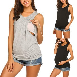 CALOFE Breastfeeding Clothes For Pregnant Women Pregnant Cotton Solid Vest Nursing Tops Maternity Breastfeeding T-Shirt Blouse