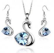 JRL Autriche cristal Swan collier pendentif Boucles d'oreilles Parures plaqué argent cristal de haute qualité Breloque Bijoux pour soirée de mariage K36