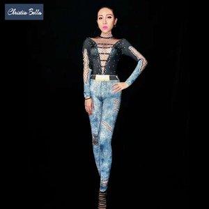 Christia Bella Sexy Body Print Stretch Tuta da donna Nightclub Cantante Stage Performance Costumi Polo Dance Tute