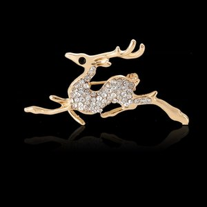 Deer King Needle Animal Modeling Cervo Sika Crystal Diamond Spilla Pin Spilla Moda bella ed elegante