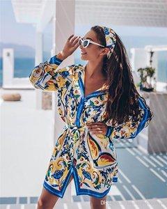 Blumendruck-Damen beiläufige Kleider Mode Langarm Revers Ausschnitt Womens Designer-Hemd Kleider beiläufige Frauen Mulit Stile Kleidung