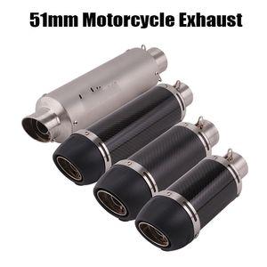 Échappement moto Tuyau Silencieux en fibre de carbone échappement Tip Tail Tube pour 51mm Universal Dirt Bike VTT