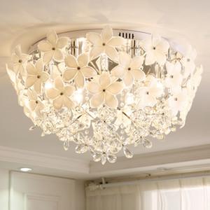 침실 통로에 대한 크리스탈 샹들리에 조명 흰색 꽃 크리스탈 라운드 샹들리에 램프 LED 천장 샹들리에 조명
