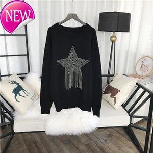 Milan Runway Women's Sweaters 2018 Black Five-pointed star pendant Tassels Pullovers Women Designer 927115