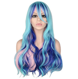 Long Wavy Cosplay Party Costume Mixed Blue Pink Purple 0 Cm Synthetic Hair Wigs