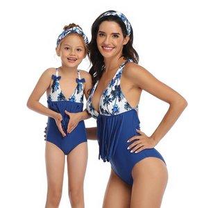 Women Baby parent-child short Sleeve Bottoming Shirt Swimwear Bikini Swimsuit Bandage Bathing Suits One piece Swimsuits 027