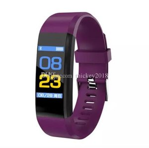 Fitbit ID115 Plus Smart Band Bracelet Color LCD Screen Fitness Tracker Pedometer Heart Rate Blood Pressure Monitor Bands Wristband Fast Ship