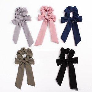 Chiffon Vintage Hair Scrunchies Arco Accesorios de las mujeres Bandas del pelo Lazos Scrunchie Ponytail Holder Cuerda de goma Decoración Big Long Bow