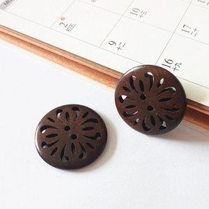 Dia.30mm Boutons de couture en bois 2 boutons en bois creux chandail trou chaussures chapeau manteau vêtements couture accessoires décoratifs DL_BUW019