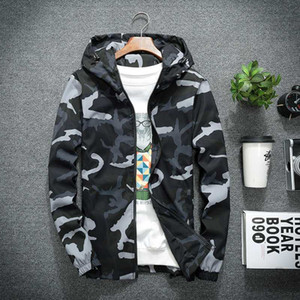 Мужские куртки осень зима вскользь Ветровка Камуфляж с капюшоном пальто мужской моды Тонкий Hip Hop Бомбардировщик Куртки Одежда