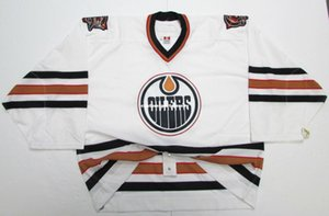 Cheap custom EDMONTON OILERS WHITE JERSEY GOALIE CUT 60 stitch add any number any name Mens Hockey Jersey