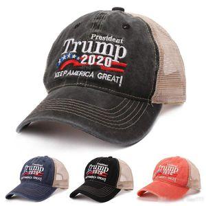 Nuevo verano Trump 2020 Red Hat Mesh Gorra de béisbol Keep America Great Embroidery Letter Camouflage Army Trucker