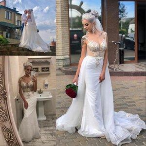 Vestido de novia Shining Lentejuelas Tul Vestidos de boda de la sirena magnífica granos del cordón Applique Vestidos de novia con tren desmontable
