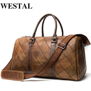 Bagaj Çanta Büyük / Weekend Westal Erkekler Bagaj Seyahat Çantaları Gerçek Deri Duffle Çanta Bavul ve Seyahat Bez Carry
