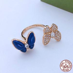 Avrupa ve Amerika S925 gümüş yüzük çift kelebek sıcak lazuli halka dişi gül altın tanrıça mizaç eli takı hediye lapis
