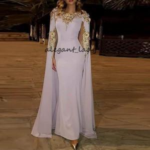 Abric Dubai Robes de Soirée avec Wrap Or Appliques Perles Lavande Robe de Célébrité Longueur Etage Occasion Spéciale robes de bal