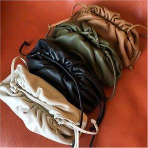 Genuine Leather Women Handbag Soft Real Cow Leather Fold Cloud Clutch Bag Dumple Quality Shoulder Crossbody Bag