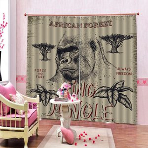 monkey curtains kids curtain beige 3D Window Curtains For Living Room Bedroom Drapes cortinas Customized size