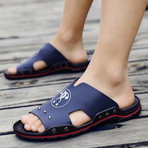 Yeni Stil Yumuşak Sole Erkekler Terlik Kore tarzı Gerçek Deri Tek kayış Terlik Moda Erkekler Ayakkabı inek derisi
