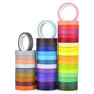 40 Pçs / set Arco-Íris Doce Cor Papel Washi Tape Set 7.5mm Rendas Decoração Masking Fitas Diário Álbum Adesivos Presente Papelaria T8190626
