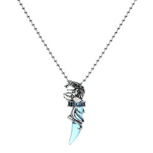 Mens Vintage Crystal Wolf titanium steel Pendant Necklace