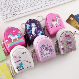Fermuar Mini Coin Çanta Unicorn Çanta Çanta Deri Moda Karikatür Çanta Anahtarlık Sevimli Küçük Dekorasyon Anahtarlık Aksesuarları PU Qhegg