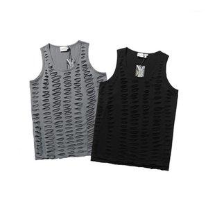 Tank En Popüler Yeni Moda Erkek tişörtleri Hip Hop Gevşek Yelek Erkek Yaz Katı Renk Scoop Boyun Hole Ripped