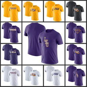 LSU Kaplanları Sideline Legend Performans Tişörtler Baskılı Kısa Kollu O-Boyun Tee futbol kolej Takım Sporları tişörtleri
