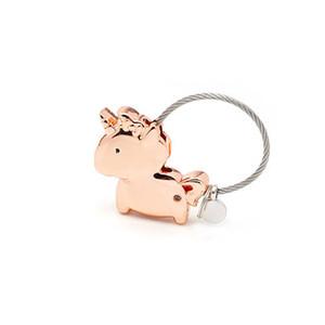 Unicorn Pendant Keychain Trendy Magnet Metal Key Rings Creative Cute Car Chain Original Custom Couples For Friendship Gift