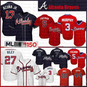 13 Ronald Acuña Jr. 27 mens Austin Riley Jersey Baseball 44 Hank Aaron 10 Chipper Jones 5 Freddie Freeman 3 Dale Murphy 7 Dansby Swanson