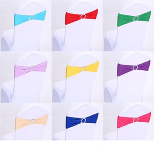 Wedding Chair Cover Sashes Elastic Spandex Chair Band Bow With Buckle for Weddings Event Party Accessories ST117