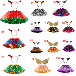 14styles Halloween Baby Girl Tutu with Headband wring Kids Colorful Christmas Party Dress Child Girl Mesh Cake Skirt 2pcs set FFA2799-1