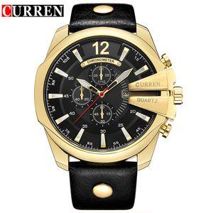 Casual del cuarzo del deporte de los hombres de Curren del reloj para hombre relojes de primeras marcas de lujo del cuarzo-Watch correa de cuero reloj de pulsera Hombre Reloj Militar
