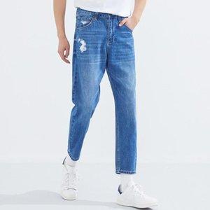Metersbonwe rasgó los pantalones jeans para hombres Primavera Verano 2020 Nuevos Casual jóvenes vaqueros de la tendencia de los hombres pantalones de nabo 757336
