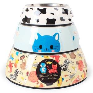 Vaca de acero inoxidable melamina pet bowl Pipi Tao perro tazón gato de dibujos animados dos-en-uno para mascotas suministros 3 estilos