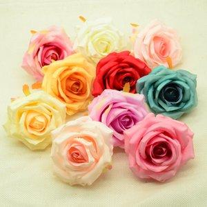 100 piezas de 8 cm flores artificiales accesorios de decoración para el hogar de la boda de la Navidad DIY productos para el hogar del rectángulo de regalos Rosas de seda de plástico falso